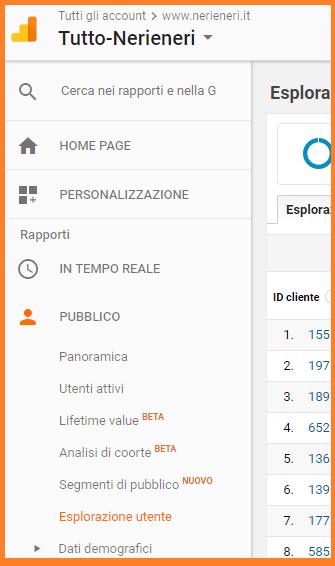screenshot porzione menù analytics google