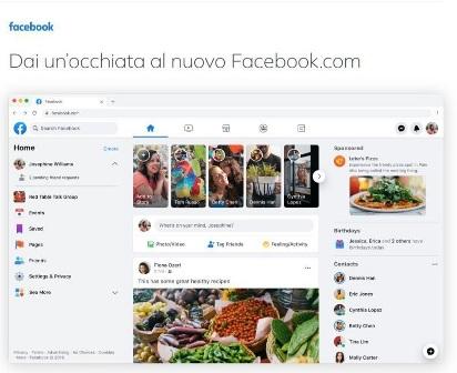 immagine schermata di anteprima del nuovo layout di FAcebook 2020