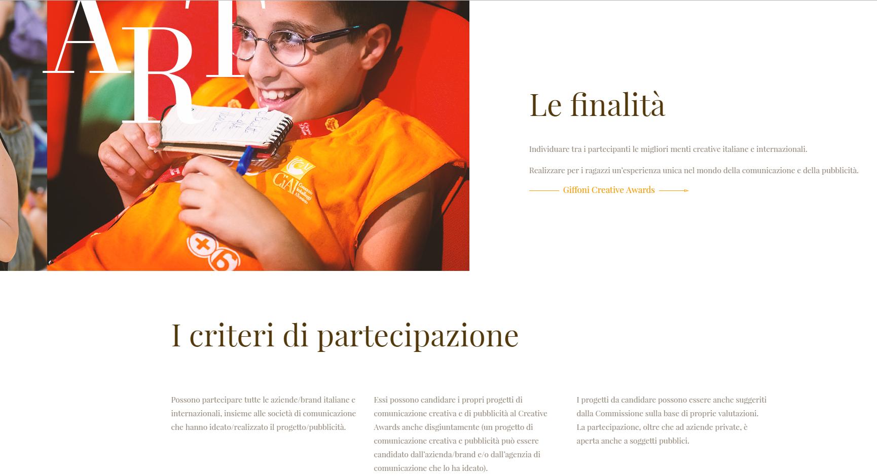 screenshot del sito Giffoni awards