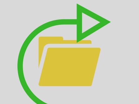 immagine con icona di cartella file e freccia verde
