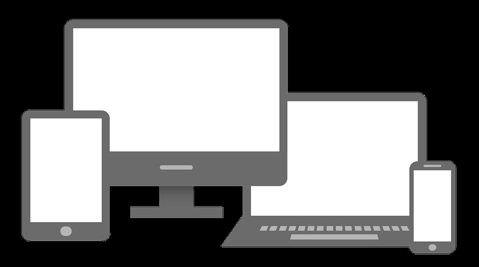immagine dei diversi device con cui è possibile navigare un sito responsive: computer desktop,tablet, cellulare, computer portatile