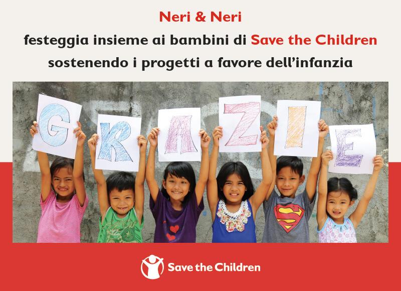 immagine con bambini che ringraziano per il nostro sostegno a save the children
