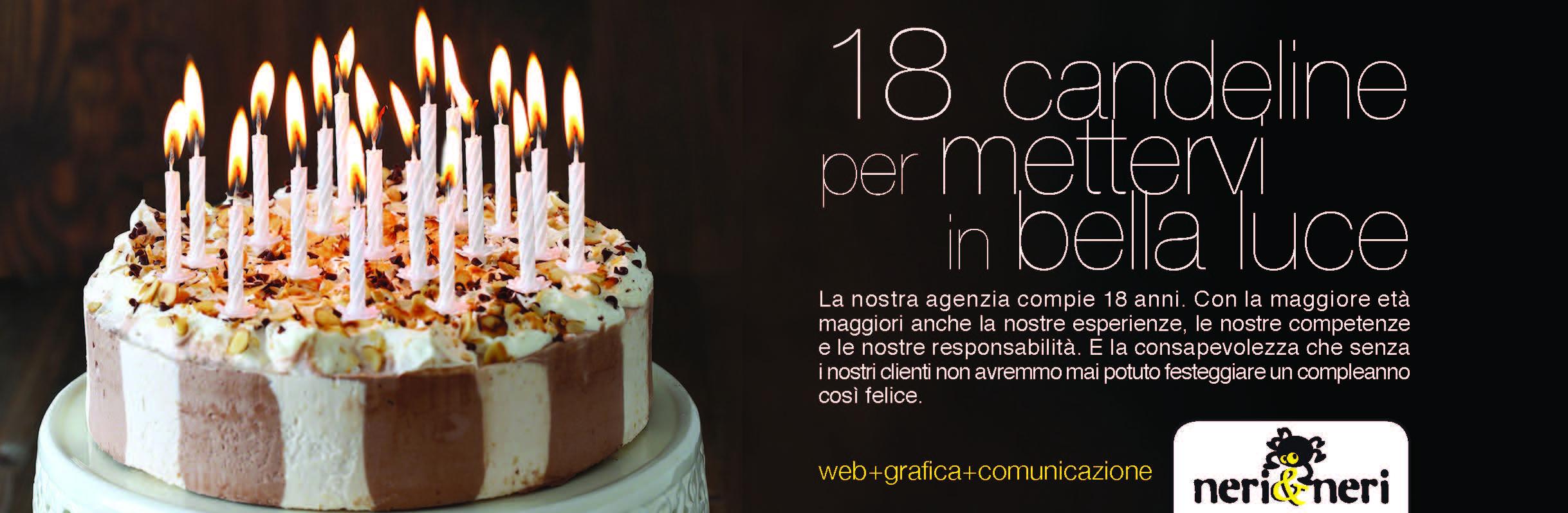 foto con una torta e 18 calendine per festeggiare i ì18 anni di attività della neri e neri comunicazione