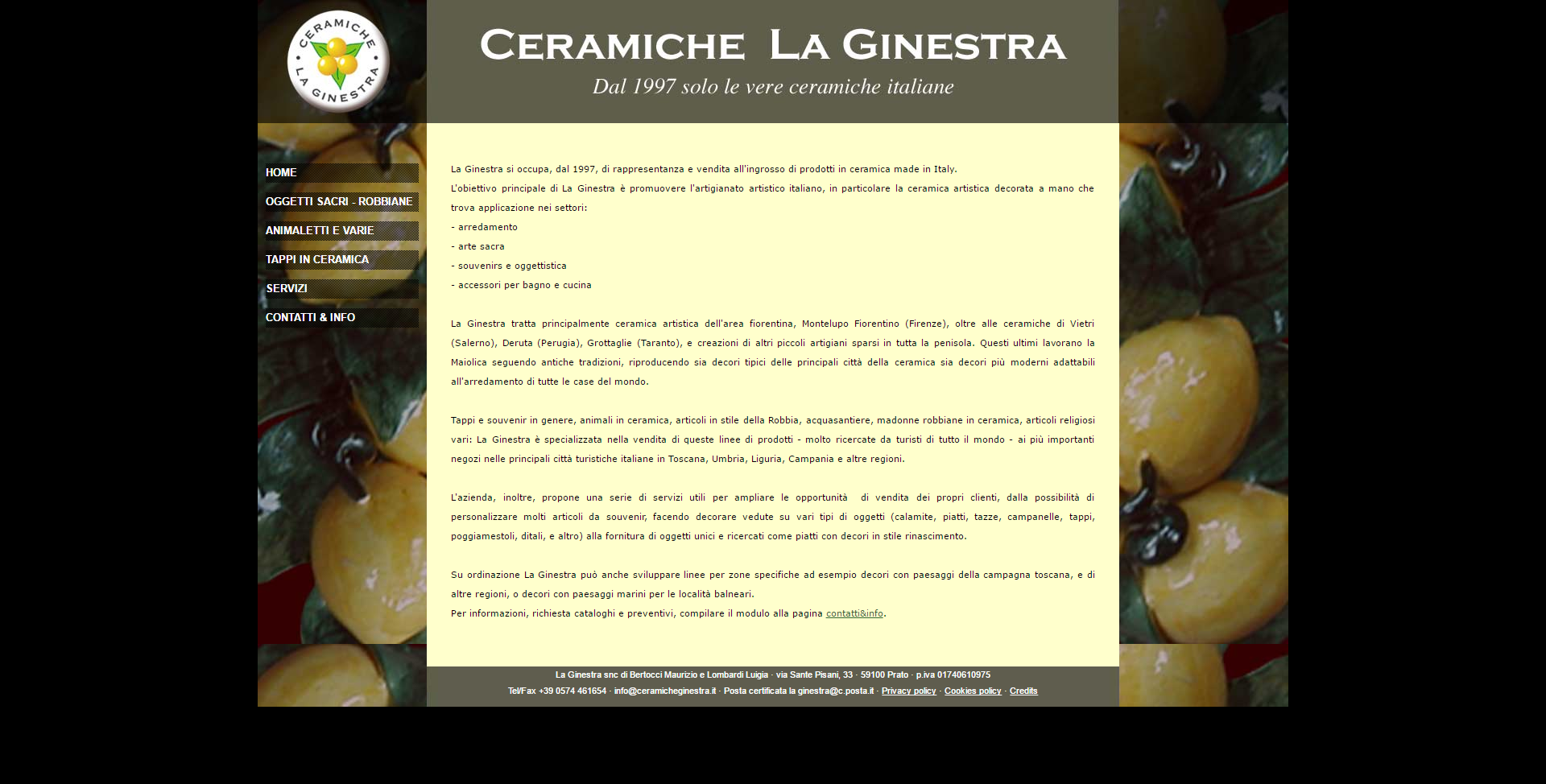 immagine home page del sito ceramiche la ginestra