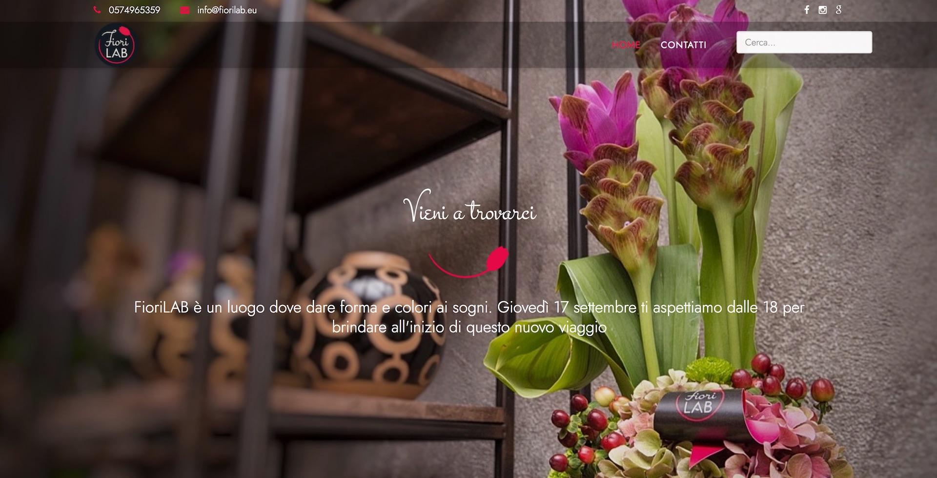 immagine home page del sito fioriLAB realizzato con un cms