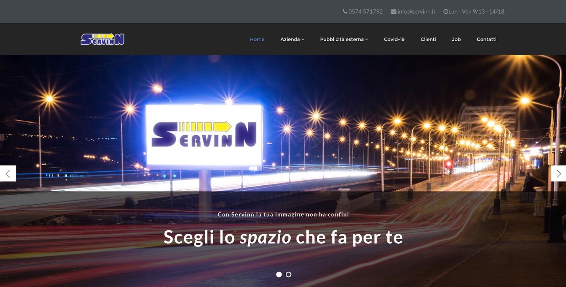 immagine home page del sito Servinn